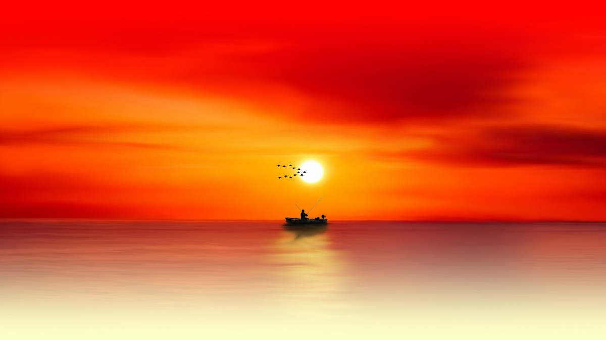 sunset-gradient-abstract-fishing-boat